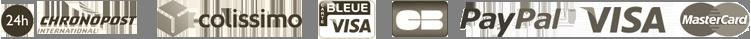 Chronopost - Colissimo - Bleue Visa - CB - Paypal - VISA - MasterCard